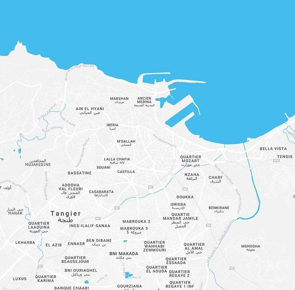 Painting - Minimalist Artistic Map Of Tangier, Morocco by Celestial Images