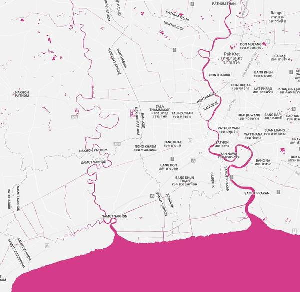 Painting - Minimalist Modern Map Of Bangkok, Thailand by Celestial Images