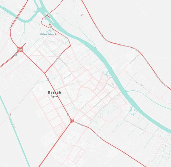 Painting - Minimalist Modern Map Of Basrah, Iraq 1 by Celestial Images