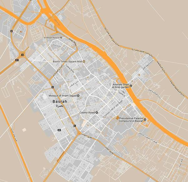Painting - Minimalist Modern Map Of Basrah, Iraq 3 by Celestial Images