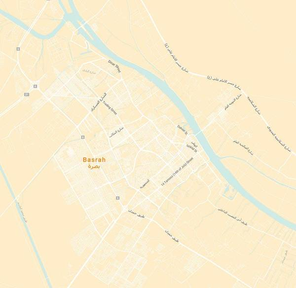 Painting - Minimalist Modern Map Of Basrah, Iraq 4 by Celestial Images