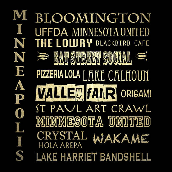 Wall Art - Digital Art - Minneapolis Famous Landmarks by Patricia Lintner