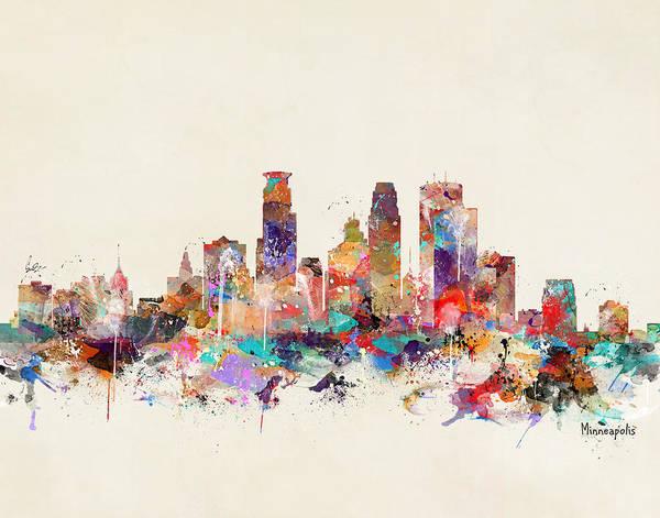 Minneapolis Wall Art - Painting - Minneapolis Minnesota by Bri Buckley