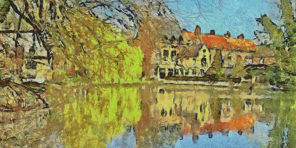 Digital Art - Minnewater Lake In Bruges Belgium by Digital Photographic Arts