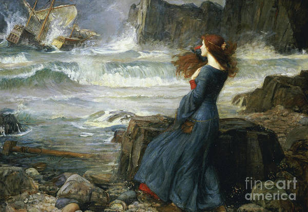 Theatrical Painting - Miranda  The Tempest by John William Waterhouse