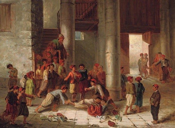Wall Art - Painting - Mischief In The Schoolyard by Julius Joseph Gaspard Starck