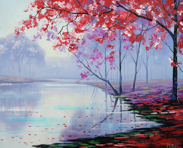 Pink Blossom Painting - Misty Lake by Graham Gercken
