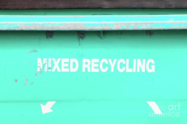 Rubbish Bin Photograph - Mixed Recycling Bin by Tom Gowanlock