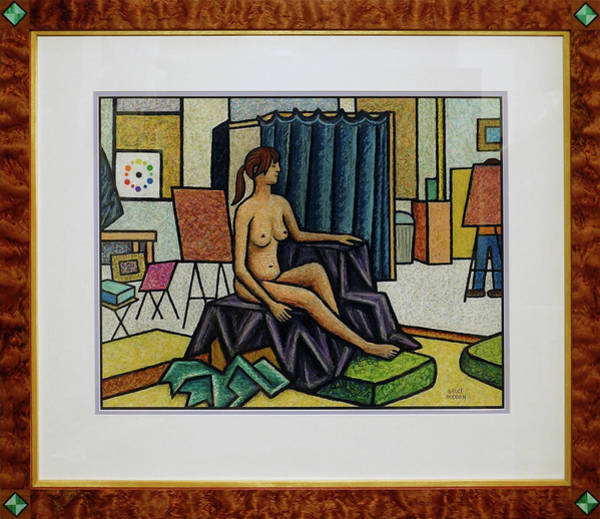 Oil Pastels Drawing - Model In Studio by Bruce Bodden