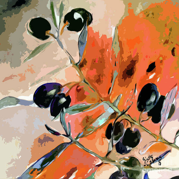 Mixed Media - Modern Decor Art Olive Branches 2 by Ginette Callaway