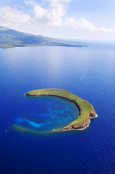 From Above Wall Art - Photograph - Molokini Aerial by Ron Dahlquist - Printscapes