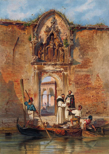 Painting -  Monks Buying Fish Before The Portal Of The Madonna Della Misericordia by Ludwig Johann Passini