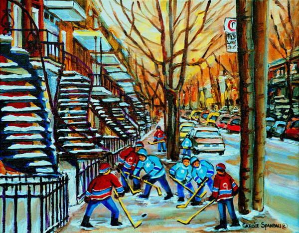 Boys Playing Hockey Painting - Montreal Hockey Paintings by Carole Spandau