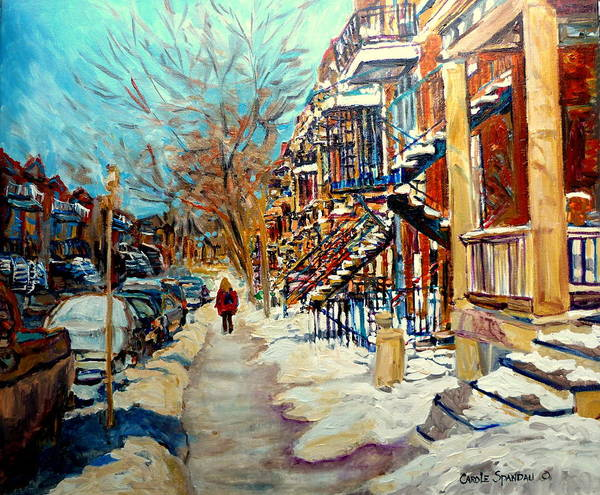 Luncheonettes Painting - Montreal Street In Winter by Carole Spandau