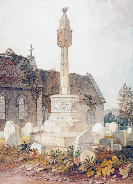 Painting - Monument In A Church Cemetery by John Chessell Buckler