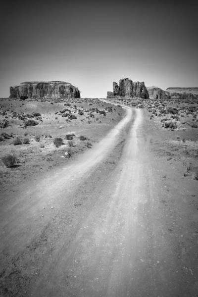 Geologic Formation Photograph - Monument Valley Drive Black And White by Melanie Viola