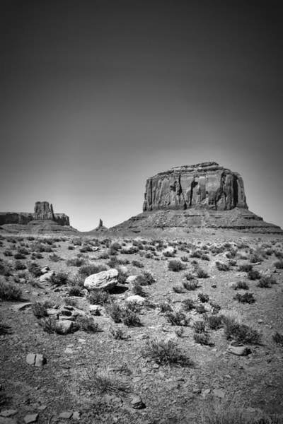 Geologic Formation Photograph - Monument Valley Merrick Butte Black And White by Melanie Viola