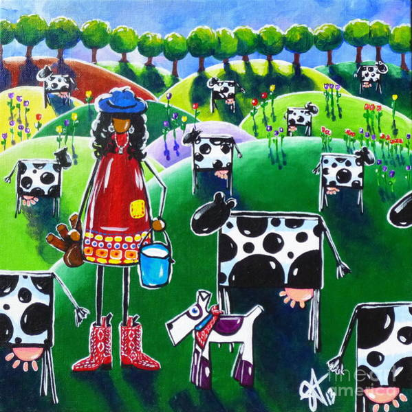 Boot Hill Painting - Moo Cow Farm by Jackie Carpenter