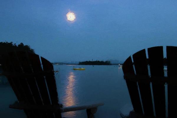 Photograph - Moon Over Winnipesaukee by Jeff Folger