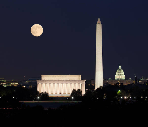 White Moon Photograph - Moon Rising In Washington Dc by Steven Heap