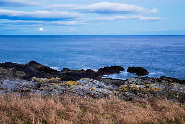 Wall Art - Photograph - Moon Rising Over Sea At Portlethen, Scotland by Ian Middleton