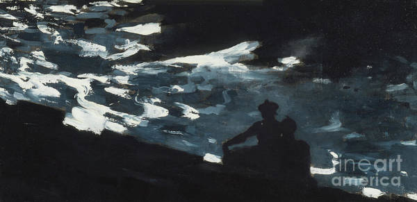 Moon Shadow Painting - Moonlight On The Water by Winslow Homer
