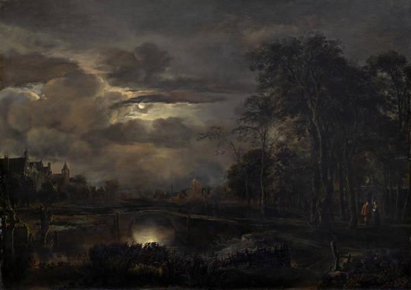 Painting - Moonlit Landscape With Bridge by Aert Van Der Neer