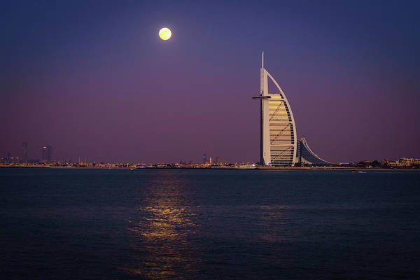 Wall Art - Photograph - Moonrise Over Burj Al Arab by Alexey Stiop