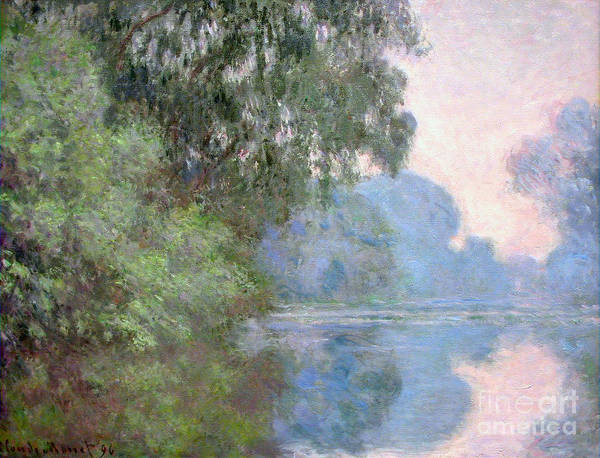 Painting - Morning On The Seine Near Giverny 1897 by Claude Monet