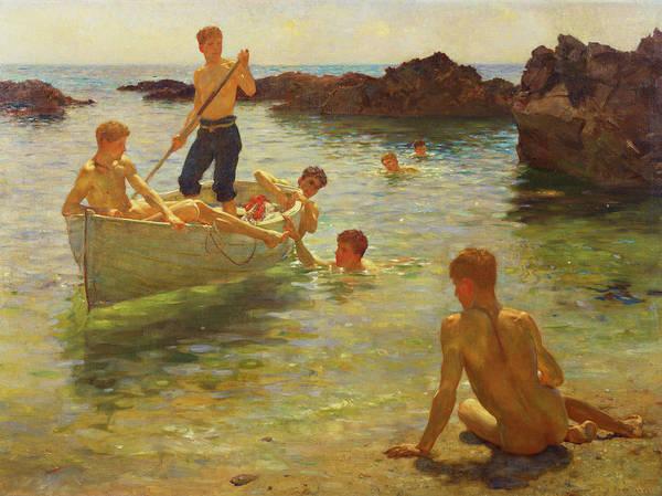 Sunbathing Painting - Morning Splendour by Henry Scott Tuke
