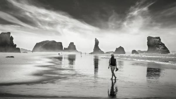 Wall Art - Photograph - Morning Walk At The Beach by Eduard Moldoveanu