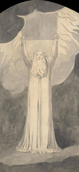 William Blake Drawing - Moses Receiving The Law by William Blake