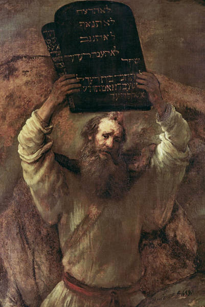 Hebrew Painting - Moses Smashing The Tablets Of The Law by Rembrandt