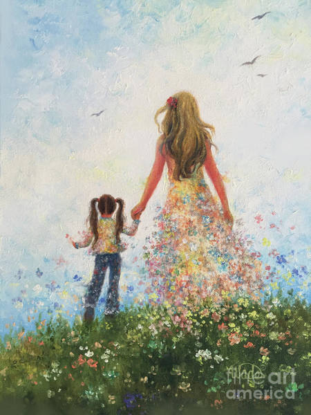 Hand Made Painting - Mother And Daughter In Flowers by Vickie Wade