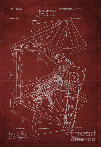 Invention Painting - Motor-bicycle Patent Year 1901 by Drawspots Illustrations