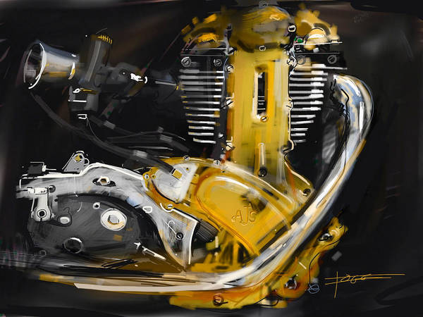 Exhaust Digital Art - Motorcycle Engine by Peter Fogg