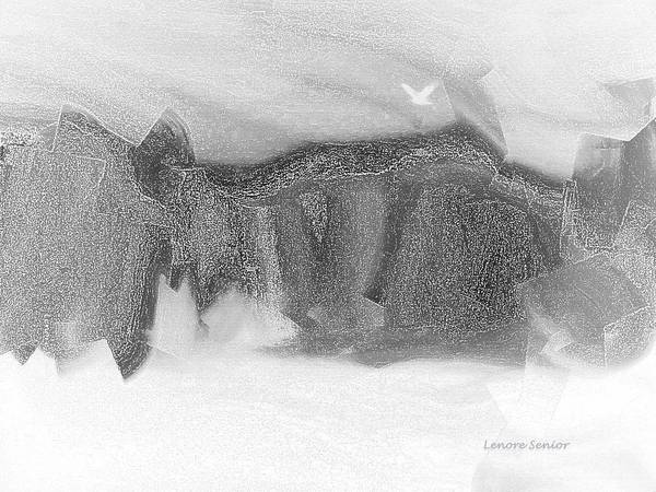 Crevice Mixed Media - Mountain In Winter by Lenore Senior