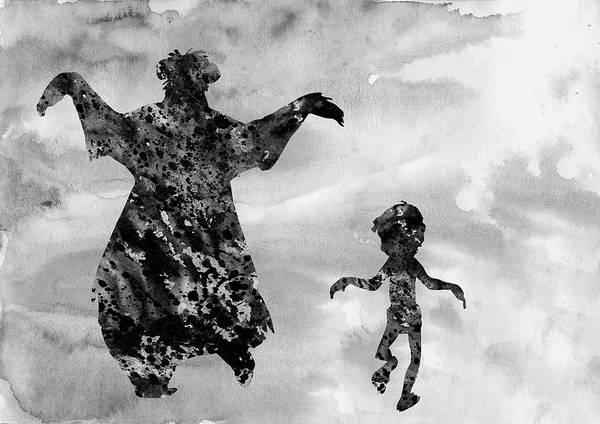 Wall Art - Digital Art - Mowgli And Baloo-black by Erzebet S