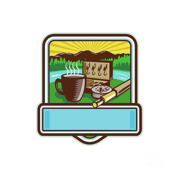 Wall Art - Digital Art - Mug Fly Tackle Bait Box Rod Reel Crest Woodcut by Aloysius Patrimonio