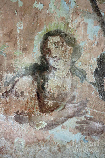 Old Wall Art - Photograph - Mural Painting In The Ruins Of The Church by Michal Boubin