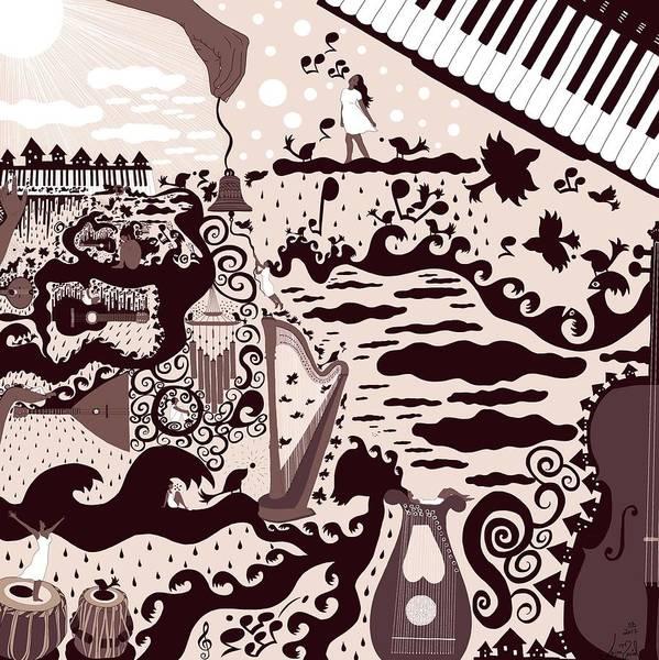Harp Digital Art - Music Rains Light For It Touches Hearts by Luiza Maciel