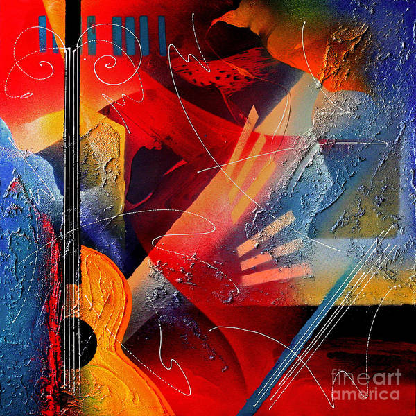 Bass Guitar Painting - Musical Textures Series by Andrea Tharin