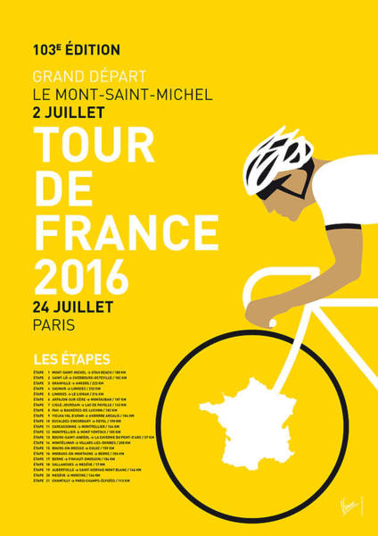 Simple Digital Art - My Tour De France Minimal Poster 2016 by Chungkong Art
