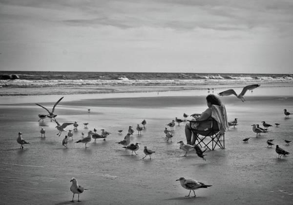 Photograph - Feeding The Birds On Daytona Beach  by Kathy McCabe