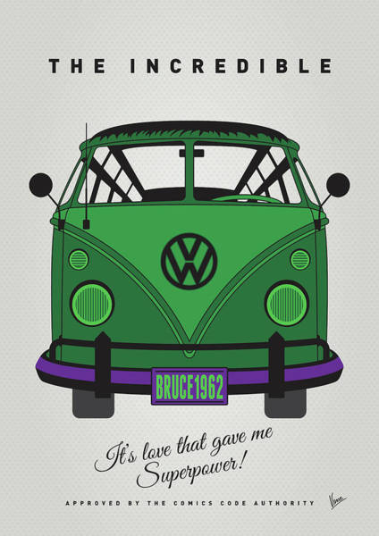 Wall Art - Digital Art - My Superhero-vw-t1-hulk by Chungkong Art