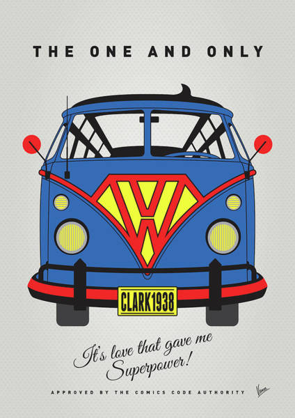 Wall Art - Digital Art - My Superhero-vw-t1-superman by Chungkong Art