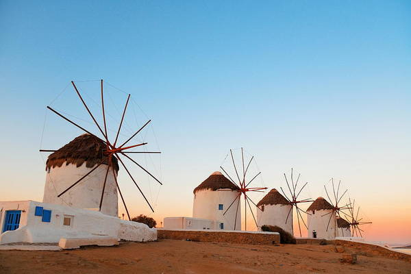 Photograph - Mykonos Windmill Sunset by Songquan Deng