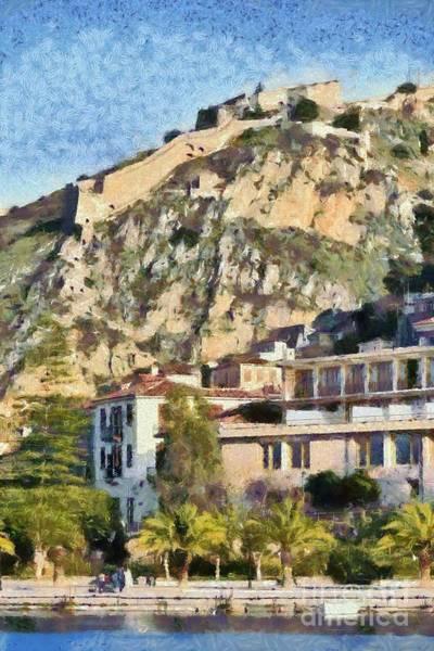 Peloponnese Painting - Nafplio Town And Palamidi Castle by George Atsametakis
