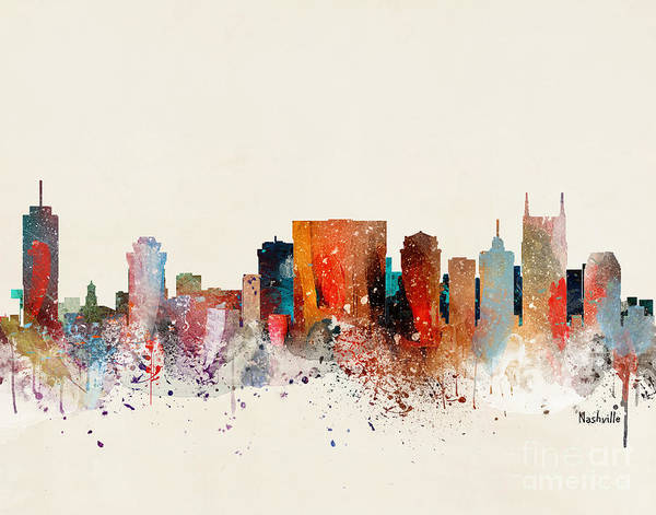 Wall Art - Painting - Nashville Skyline by Bri Buckley