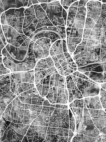 Tennessee Wall Art - Digital Art - Nashville Tennessee City Map by Michael Tompsett